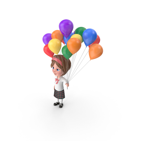 Cartoon Girl Meghan Holding Balloons PNG & PSD Images