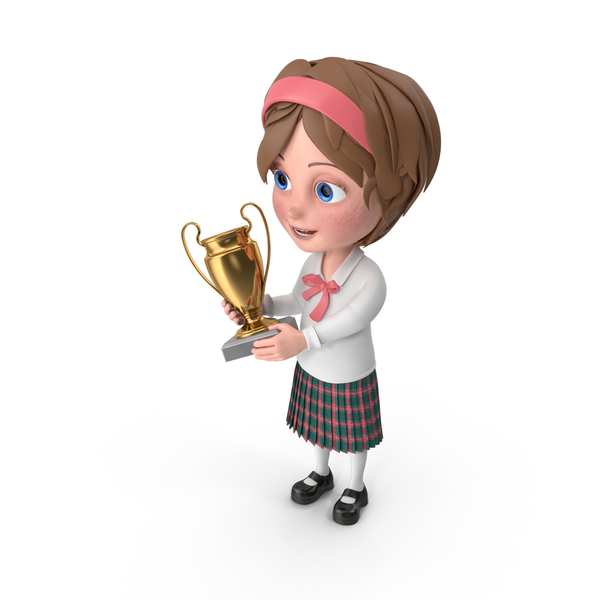 Cartoon Girl Meghan Holding Prize Cup PNG & PSD Images