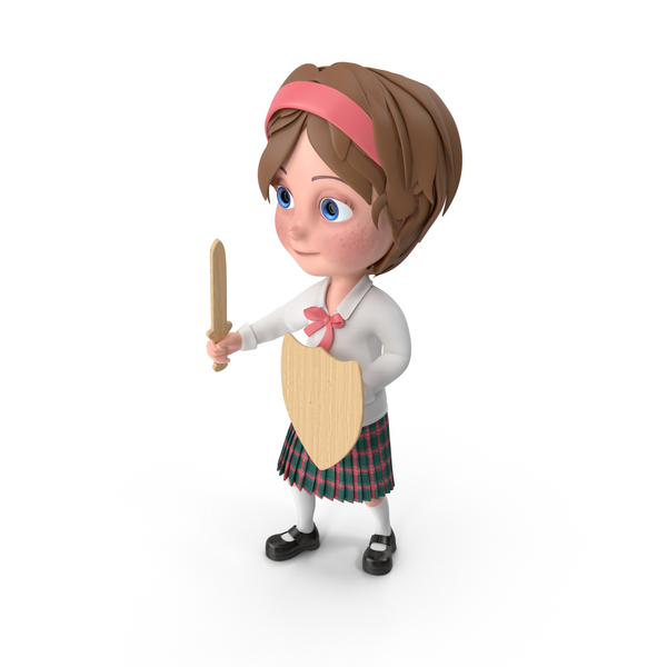 Cartoon Girl Meghan Holding Sword And Shield PNG & PSD Images