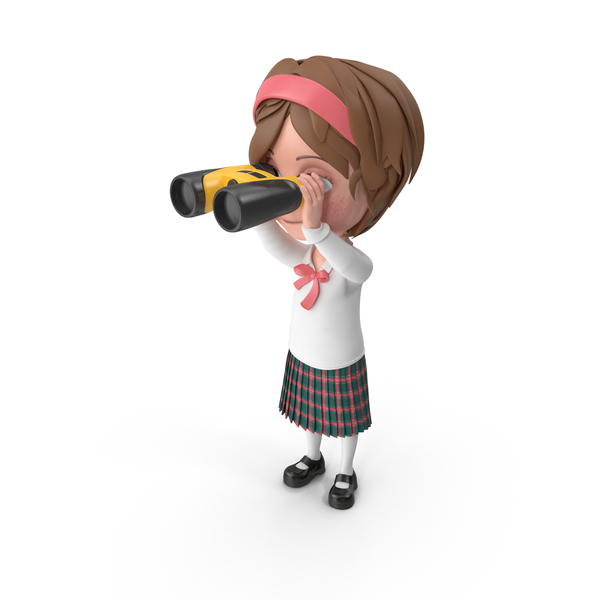 Cartoon Girl Meghan Looking Through Binoculars PNG & PSD Images