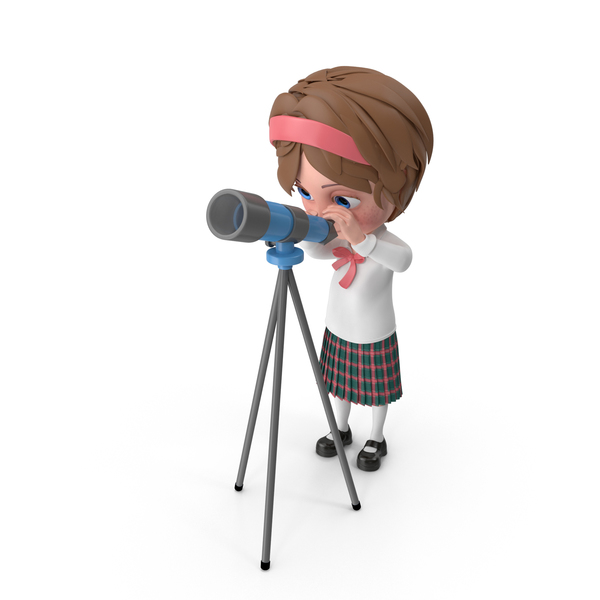 Cartoon Girl Meghan Looking Through Telescope PNG & PSD Images