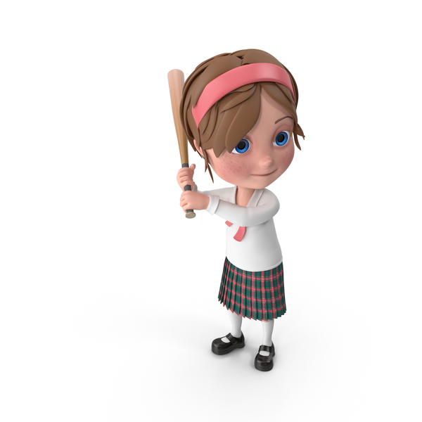 Cartoon Girl Meghan Playing Baseball PNG & PSD Images
