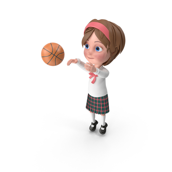 Cartoon Girl Meghan Playing Basketball PNG & PSD Images
