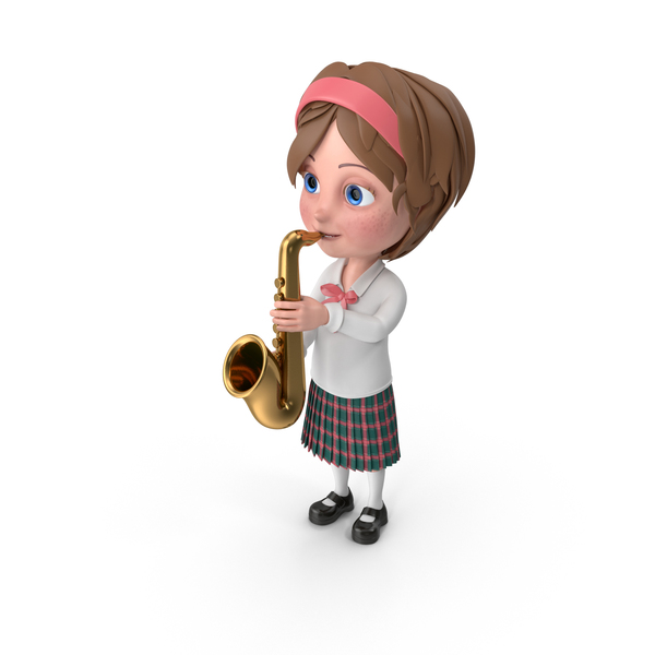Cartoon Girl Meghan Playing Saxophone PNG & PSD Images