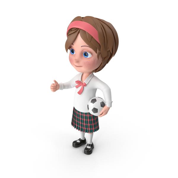 Cartoon Girl Meghan Playing Soccer PNG & PSD Images