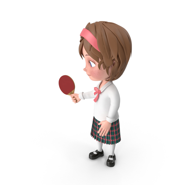 Cartoon Girl Meghan Playing Table Tennis PNG & PSD Images