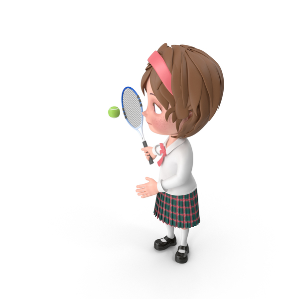 Cartoon Girl Meghan Playing Tennis PNG & PSD Images