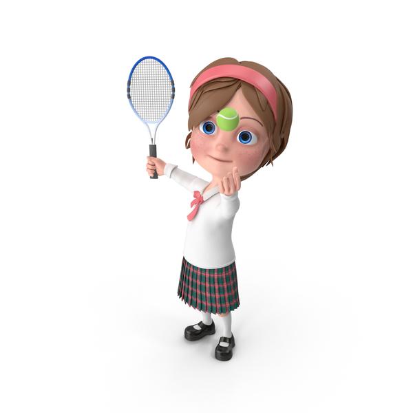 Cartoon Girl Meghan Playing Tennis PNG & PSD Images