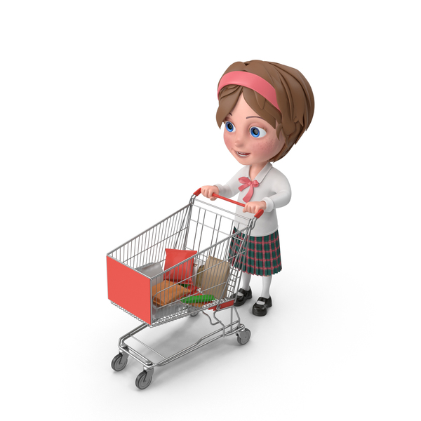 Cartoon Girl Meghan Shopping PNG & PSD Images