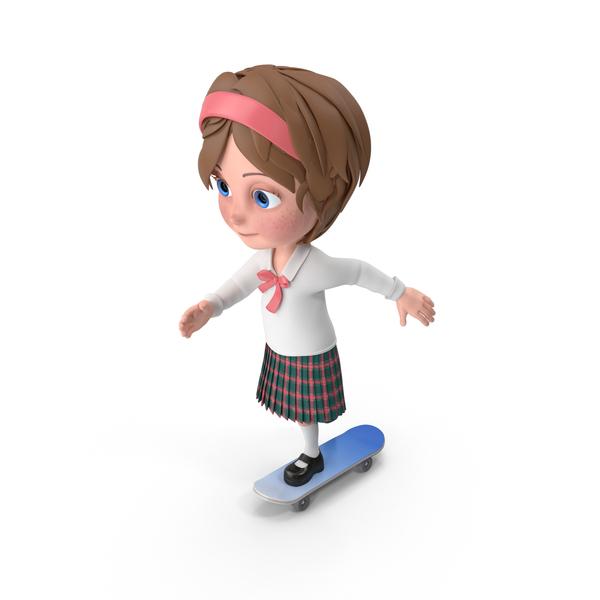 Cartoon Girl Meghan Skateboarding PNG & PSD Images
