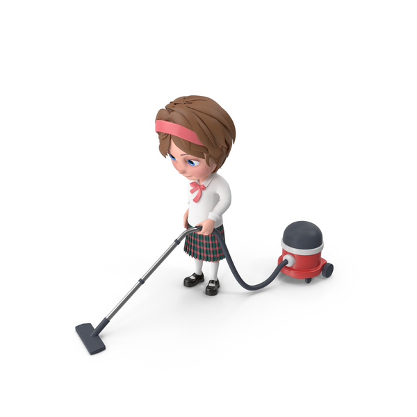 Cartoon Girl Meghan Vacuuming PNG & PSD Images