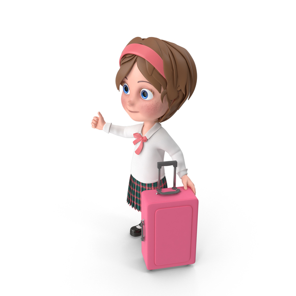 Cartoon Girl Travelling PNG & PSD Images