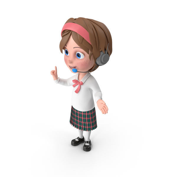 Cartoon Girl Wearing Headset PNG & PSD Images