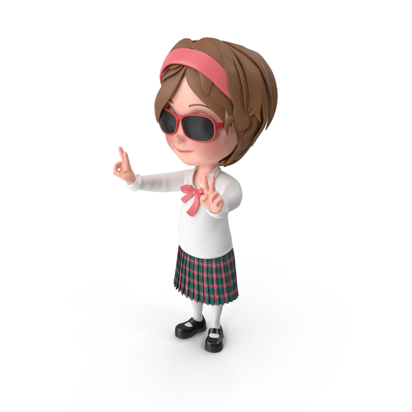 Cartoon Girl Wearing Sunglasses PNG & PSD Images