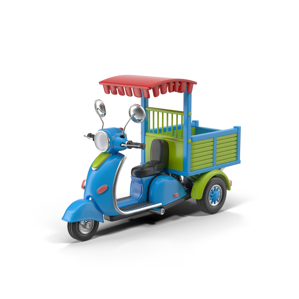 Cartoon Motorized Tricycle Blue PNG & PSD Images