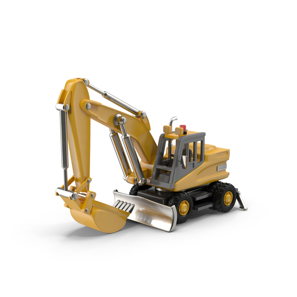 Cartoon Rubber-Tired Excavator Object