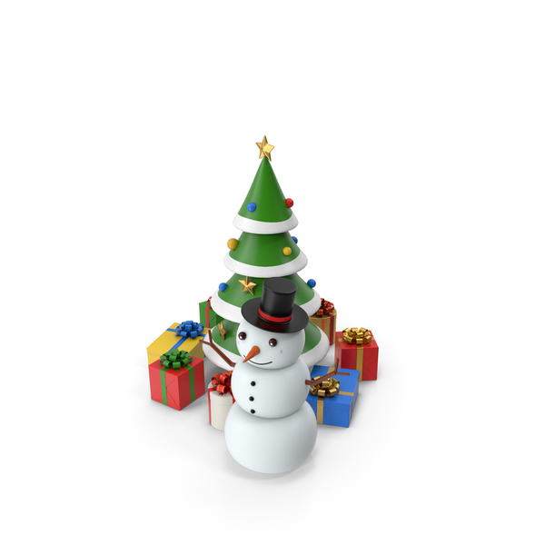 Cartoon Snow Man And Tree PNG & PSD Images