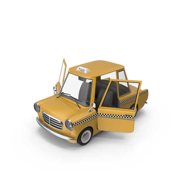 Cartoon Taxi Open Doors PNG & PSD Images