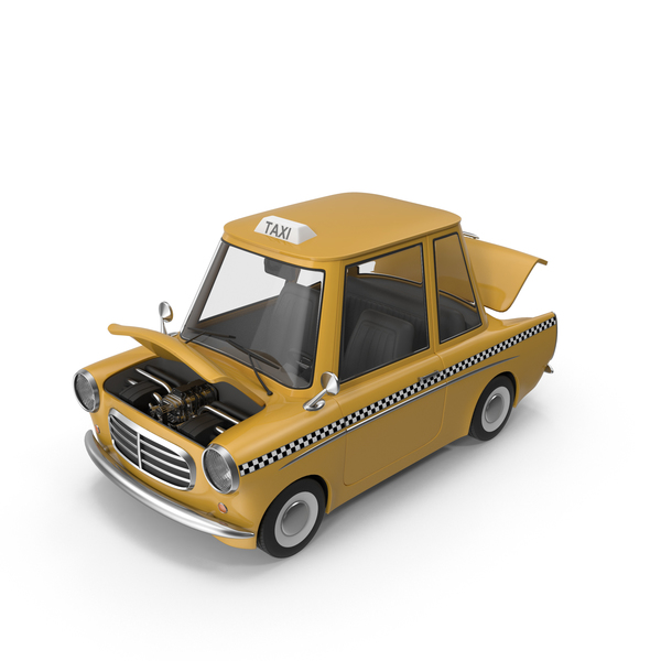 Cartoon Taxi Open Hood PNG & PSD Images