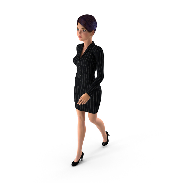 Cartoon Young Girl Office Clothes Walking Pose PNG & PSD Images