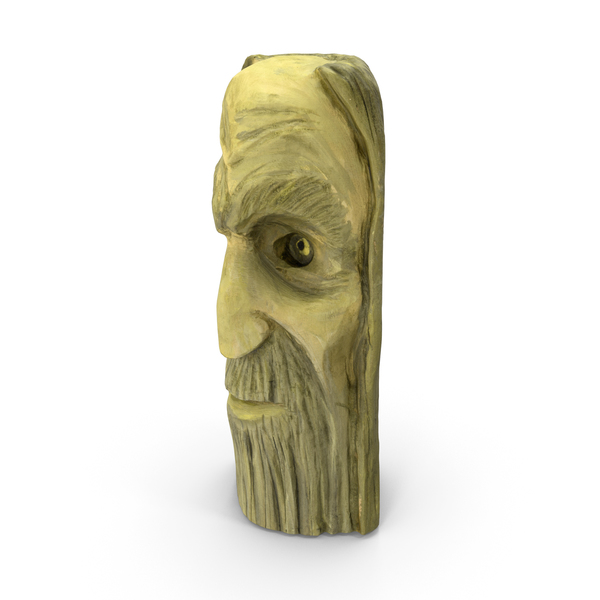 Carved Wood Face Sculpture PNG & PSD Images