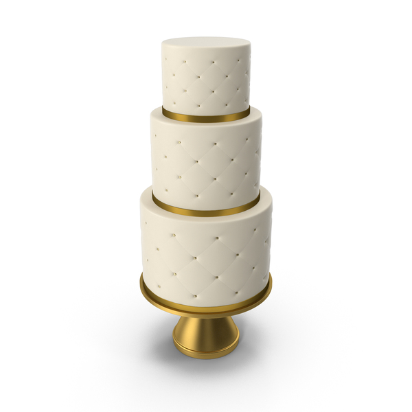 Cascade Cake with Decor of Gold Ribbon PNG & PSD Images