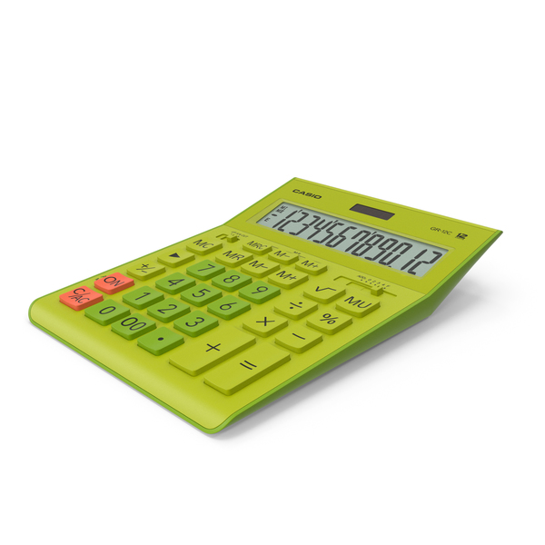 Casio GR-12C Yellow Calculator PNG & PSD Images