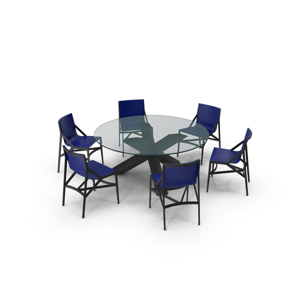 Room: Cassina Dining Table Chair Set Black Glass Blue PNG & PSD Images
