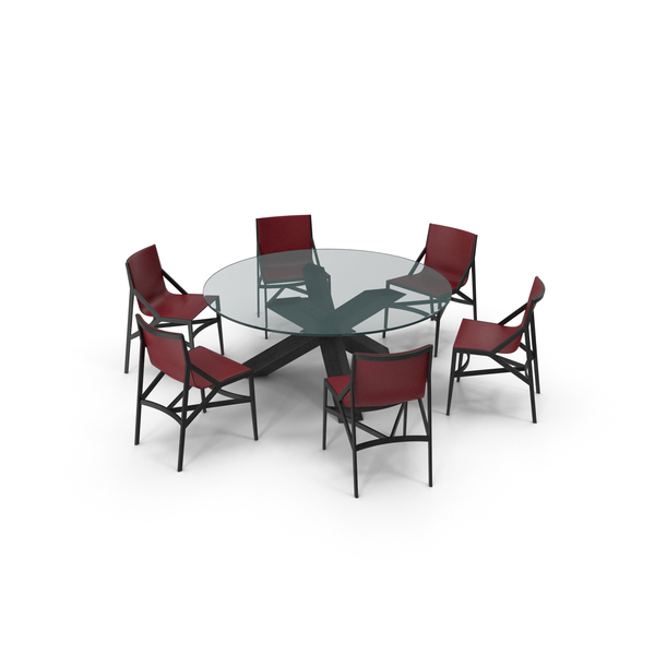 Cassina Dining Table Chair Set Black Glass Red PNG & PSD Images