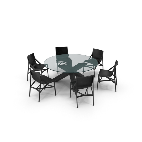 Room: Cassina Dining Table Chair Set Black Glass PNG & PSD Images