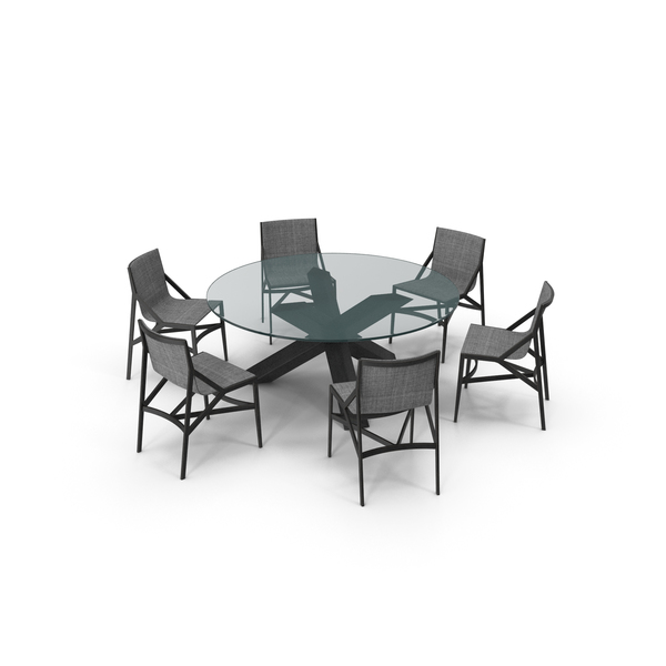 Cassina Dining Table Chair Set Black Glass Suit PNG & PSD Images