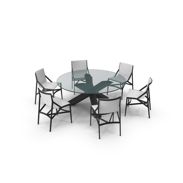Cassina Dining Table Chair Set Black Glass White PNG & PSD Images