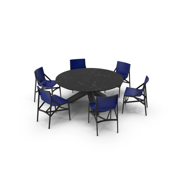 Cassina Dining Table Chair Set Black Marble Blue PNG & PSD Images