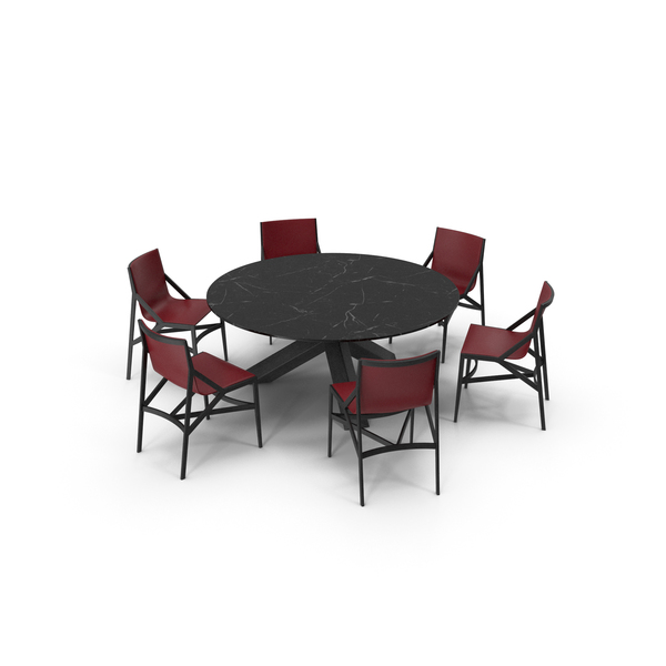 Cassina Dining Table Chair Set Black Marble Red PNG & PSD Images