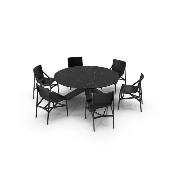 Cassina Dining Table Chair Set Black Marble PNG & PSD Images