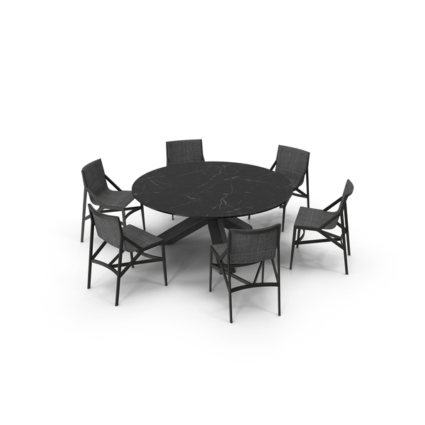 Cassina Dining Table Chair Set Black Marble Suit PNG & PSD Images