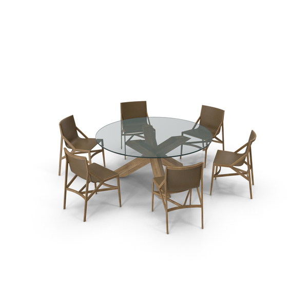 Cassina Dining Table Chair Set Oak Glass Brown PNG & PSD Images