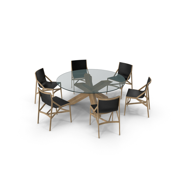 Cassina Dining Table Chair Set Oak Glass PNG & PSD Images