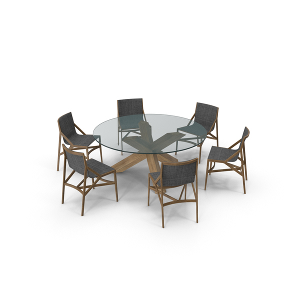 Cassina Dining Table Chair Set Oak Glass Suit PNG & PSD Images