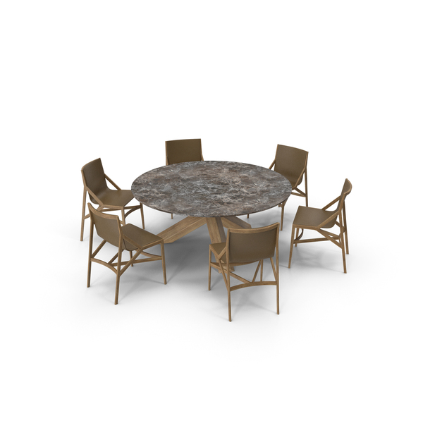 Cassina Dining Table Chair Set Oak Marble Brown PNG & PSD Images