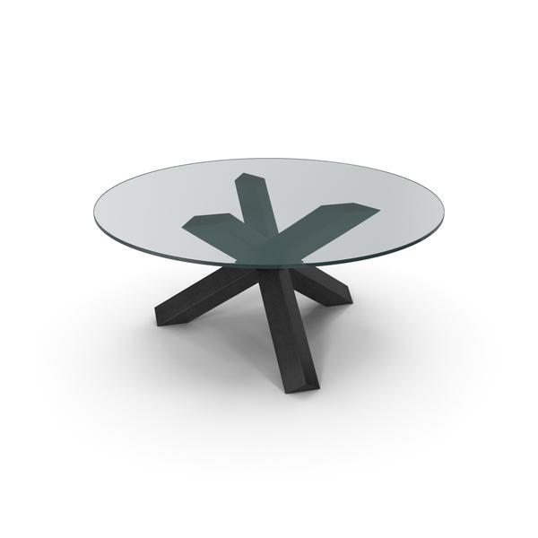 Cassina La Rotonda Table Black Glass PNG & PSD Images