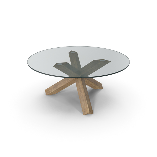 Cassina La Rotonda Table Oak Glass PNG & PSD Images