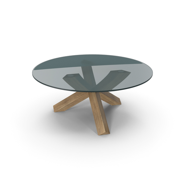 Dining: Cassina La Rotonda Table Oak Glass PNG & PSD Images