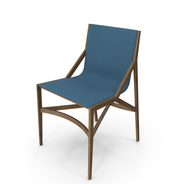 Cassina Pilotta Chair Oak Fabric Blue PNG & PSD Images
