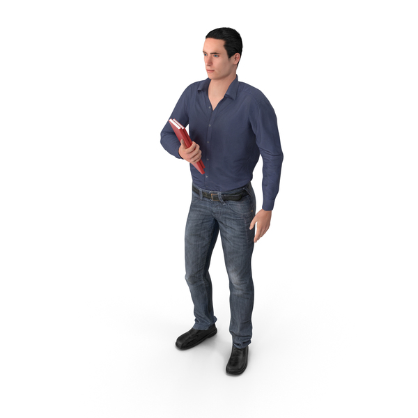 Casual Man James Holding Books PNG & PSD Images
