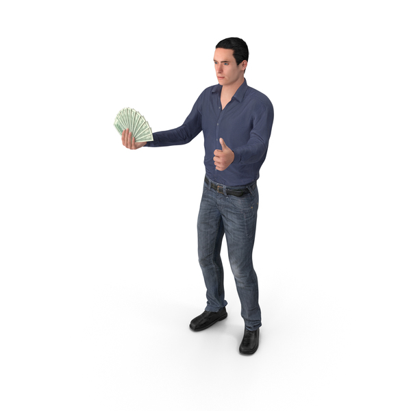 Casual Man James Holding Cash PNG & PSD Images