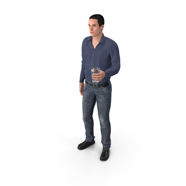 Casual Man James Holding Drink PNG & PSD Images