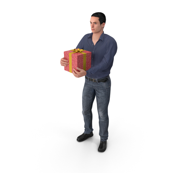 Casual Man James Holding Gift PNG & PSD Images