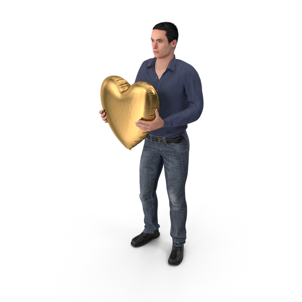 Casual Man James Holding Heart Balloon PNG & PSD Images