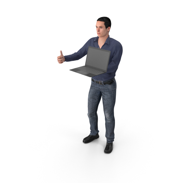 Casual Man James Holding Laptop PNG & PSD Images